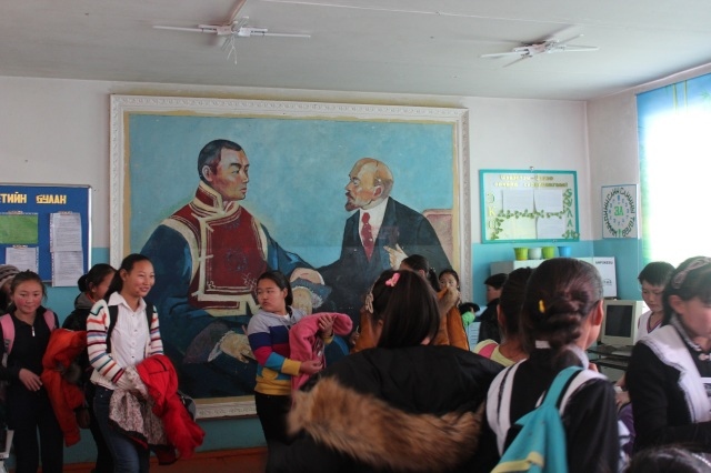 "No school would be complete with you the obligatory portrait depicting the meeting between Lenin and Sukhbaatar aka ""National Mongolian Hero"". This is how I know I'm in Mongolia."