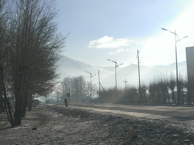 winter street mongolia