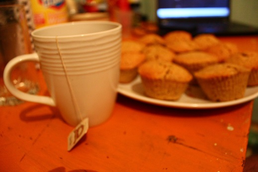 some ice wine tea and honey muffins