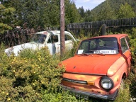 Retropark filled with statues made of old soviet car parks